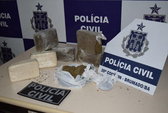 Polícia civil encontra cerca de 7 kg de entorpecentes em casa abandonada em Brumado