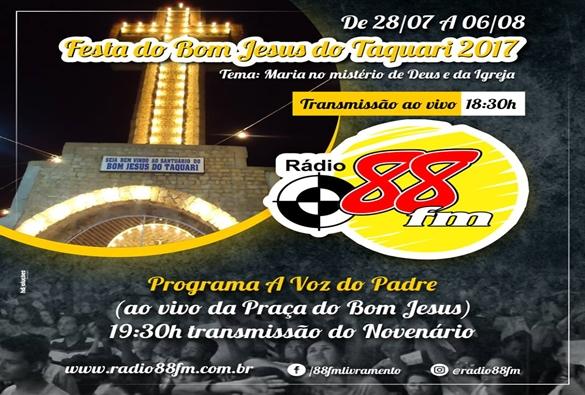 Festejos em louvor ao Bom Jesus do Taquari dão inicio hoje