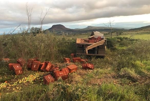 BA-142: Carreta sai da pista e tomba na saída de Barra da Estiva para Ituaçu