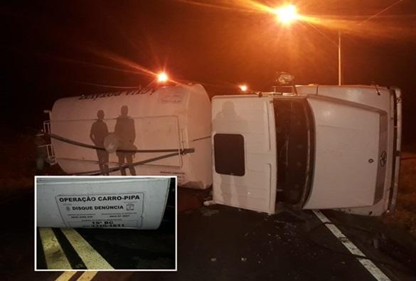 Motorista de caminhão da operação pipa sofre acidente de transito na BA-148 em Dom Basílio