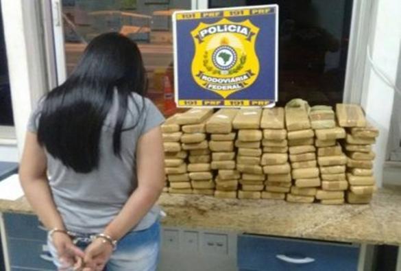 Conquista: Mulher é presa com 100 kg de maconha; droga iria para Pernambuco