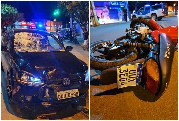 Colisão entre moto e carro deixa uma pessoa ferida em Livramento