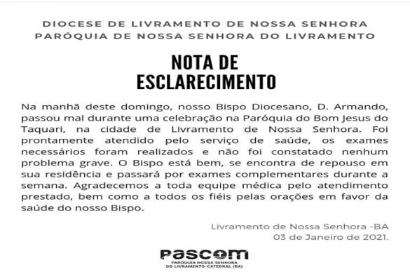 Igreja católica: Bispo da Diocese de Livramento passa mal durante celebração