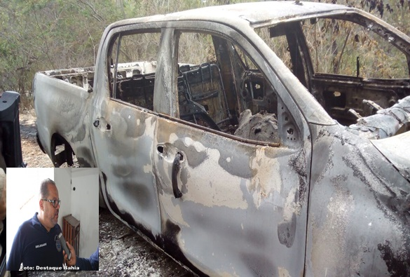 Equipe da DRACO encontra veículo do delegado Marcos Torres carbonizado com um corpo em seu interior