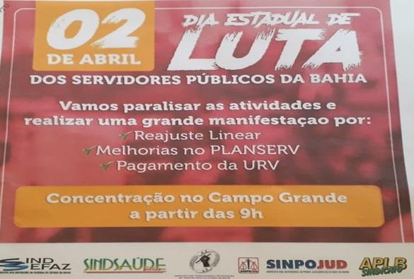 Servidores públicos da Bahia farão paralisação por melhorias de trabalho