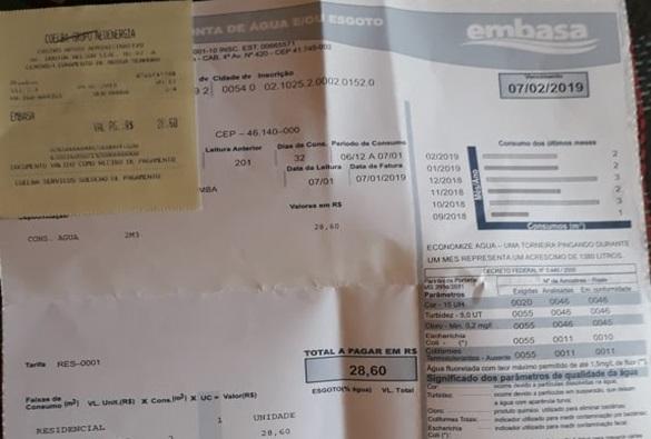 Mesmo com contas pagas Embasa suspende fornecimento de água de consumidora livramentense