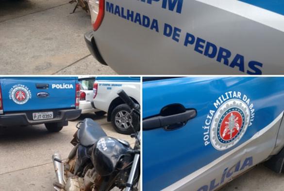 Motocicleta colide contra viatura da polícia militar em Malhada de Pedras