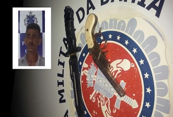 Botuporã: Homem é preso pela PM portando revólver de dois canos e faca peixeira