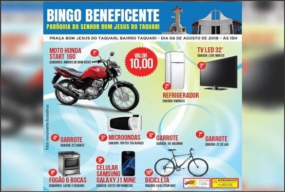 Confira os ganhadores dos prêmios do bingo beneficente á continuação da construção da igreja matriz do Bom Jesus do Taquari