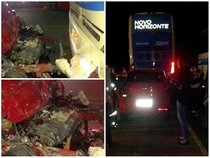 Acidente entre carro de passeio e ônibus da Novo Horizonte deixa uma vítima fatal