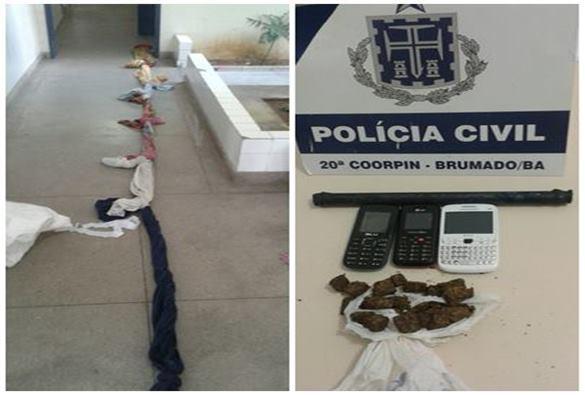 Brumado: Policia Civil impede tentativa de fuga e apreende drogas e armas na carceragem da 20ª Coorpin